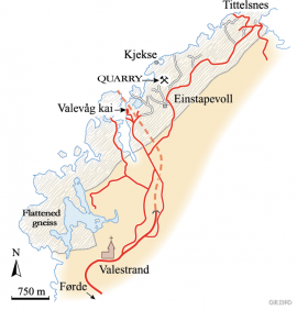 Distribution of the flattened gneisses along the Bømla Fjord