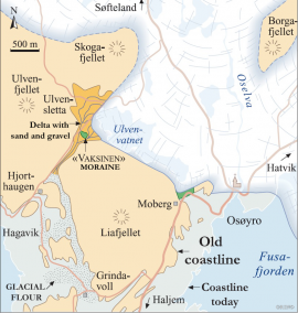 Map of the Os-region where the glacial rivers built up Ulvensletta roughly 12,000 years ago. (Inge Aarseth/Eva Bjørseth)