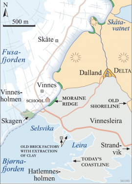 Map of the Vinnes area 11 700 years ago