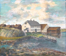 Watercolour of the closely knit housing settlement at Engesund in the 1800s.