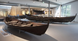 The Boat Hall at the Horda Museum houses 26 clinker-built, open wooden boats