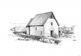 The church at Moster, as drawn by Johan Meyer in 1897.