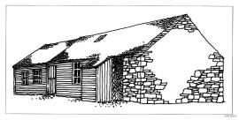 Drawing: longhouse, Sætre