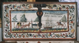 The chest from Sekse, painted by Gunnar Årekol in 1813.