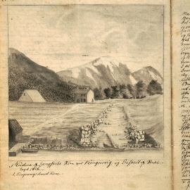 "Nils Hertzberg's prospectus from 1825 of ""Ålmerket"" and the site of the long ship shed."