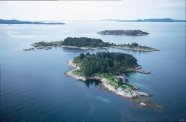 Three of the islands in the nature preserve: Litla Vesøya, Stora Vestøya and Lyngøy.