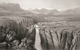 «The Vøring-fos Waterfall», James Randell, 1854