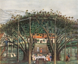 Watercolour of fruit orchard and vicarage in Ullensvang