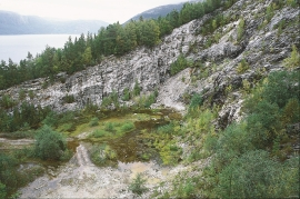The quartz quarry in the mountainside above Kvalvikane