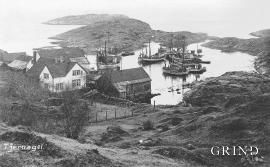 Den gamle handelsstaden på Tjernagelsholmen kring 1920 (foto: ukjent)
