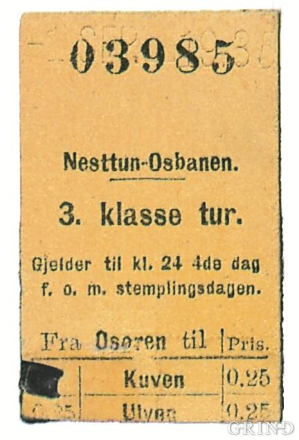 A ticket from the last trip on the Os Railway