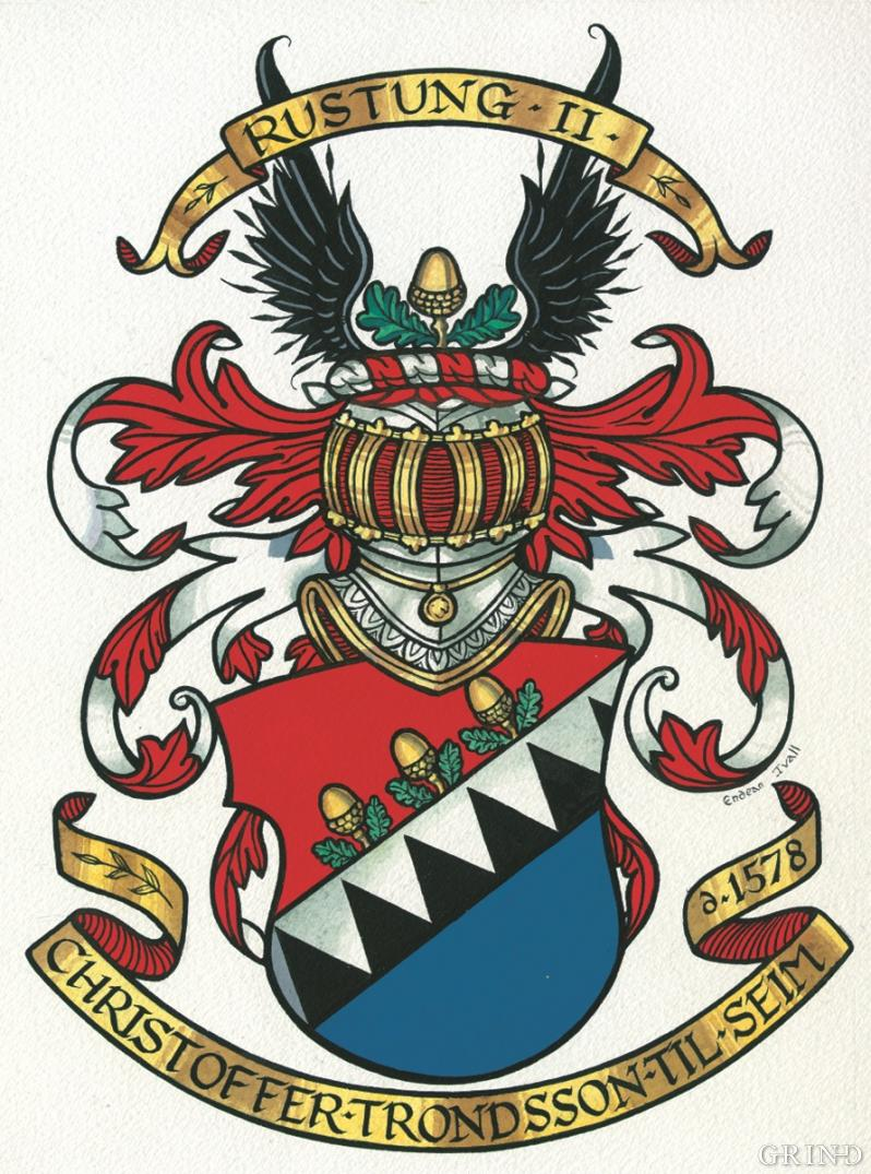 The coat-of arms of Kristoffer Trondsson Rustung
