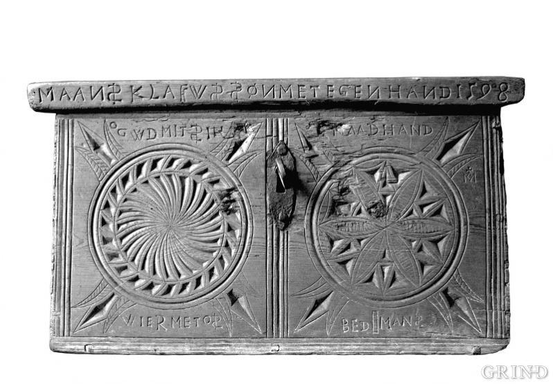 Mellomalderleg karveskurd på skrin frå 1500-talet