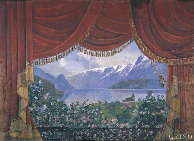 "The stage curtain from the Youth House ""Krossvoll"" in Lofthus painted by Rudolf Vig around 1920"