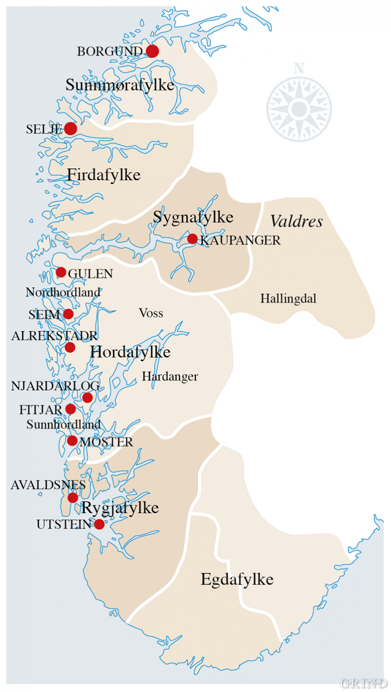 Gulatinget in the High Middle Ages comprised Egdafylke, Rygjafylke and Sunnmørafylke, in addition to Hordaland, Hardanger, Voss, Sogn og Fjordane.