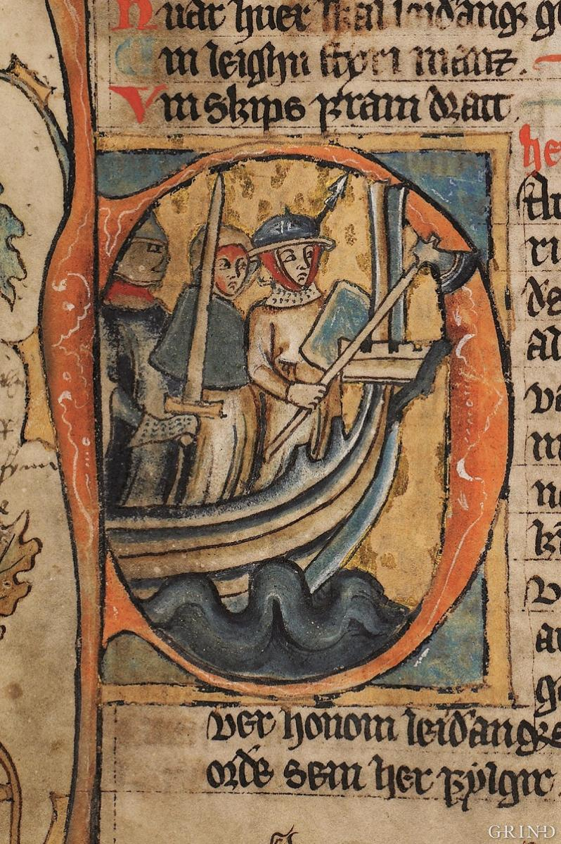 An initial from the introduction to the maritime administration period in the National Law from the first half of the 14th century.