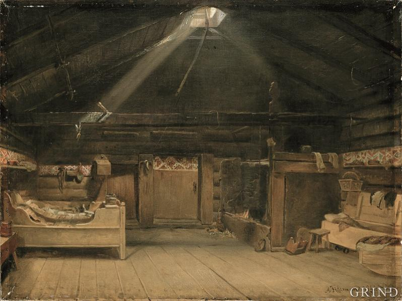 Adolph Tidemand's smoke room interior from Kvam
