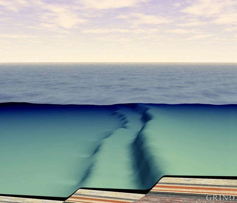 Sent i juraperioden: Reservoarene skråstilles, og kildebergarten (svart) avsettes i et «trappetrinnslandskap» under vann