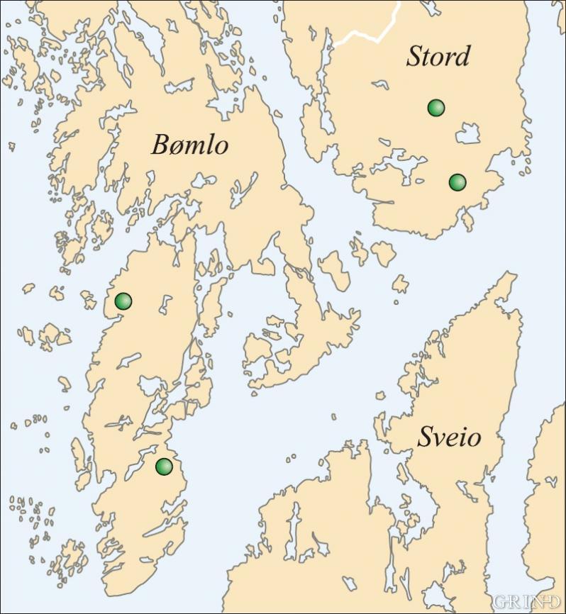 Fire av de seks lokalitetene til storak i Norge ligger i Sunnhordland