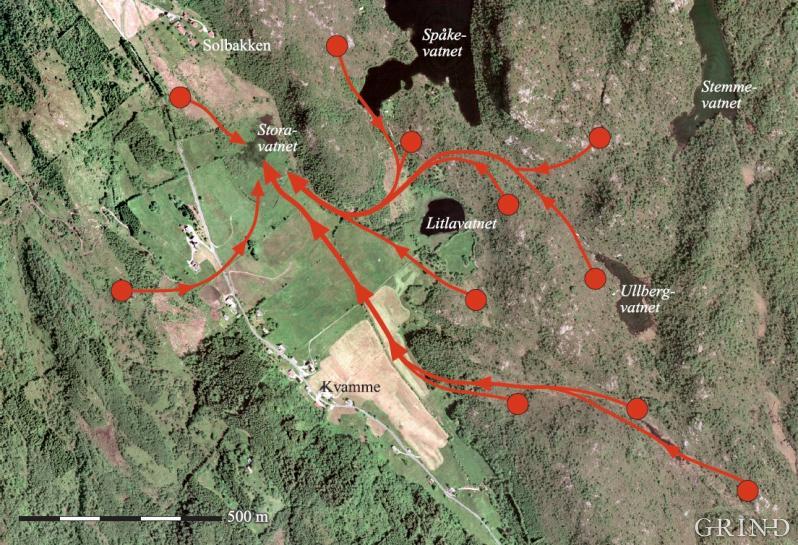 Flyfotoet viser hvordan krikkandreirene fordelte seg i terrenget ved Kvamme, Arna bydel i Bergen i 1983