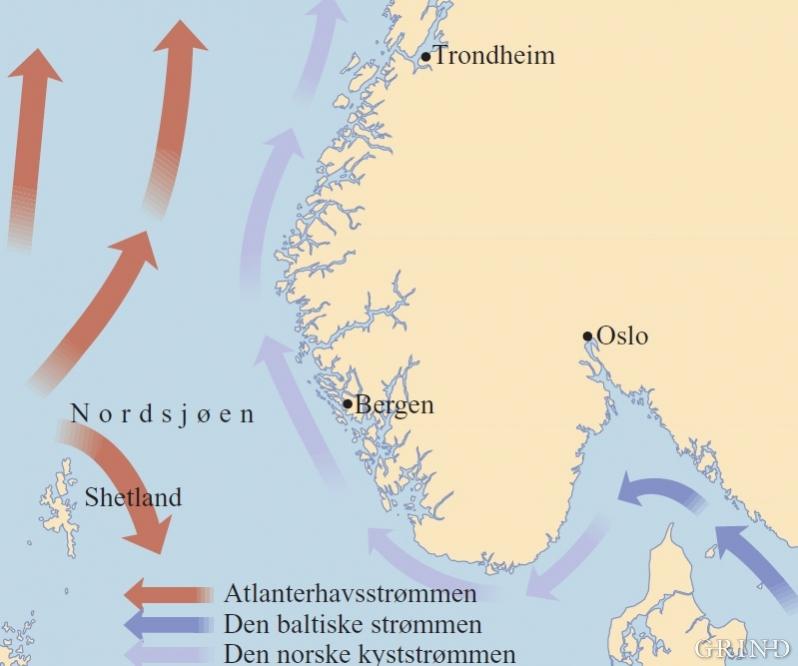 Kart over de viktigste strømmene langs kysten av Sør-Norge