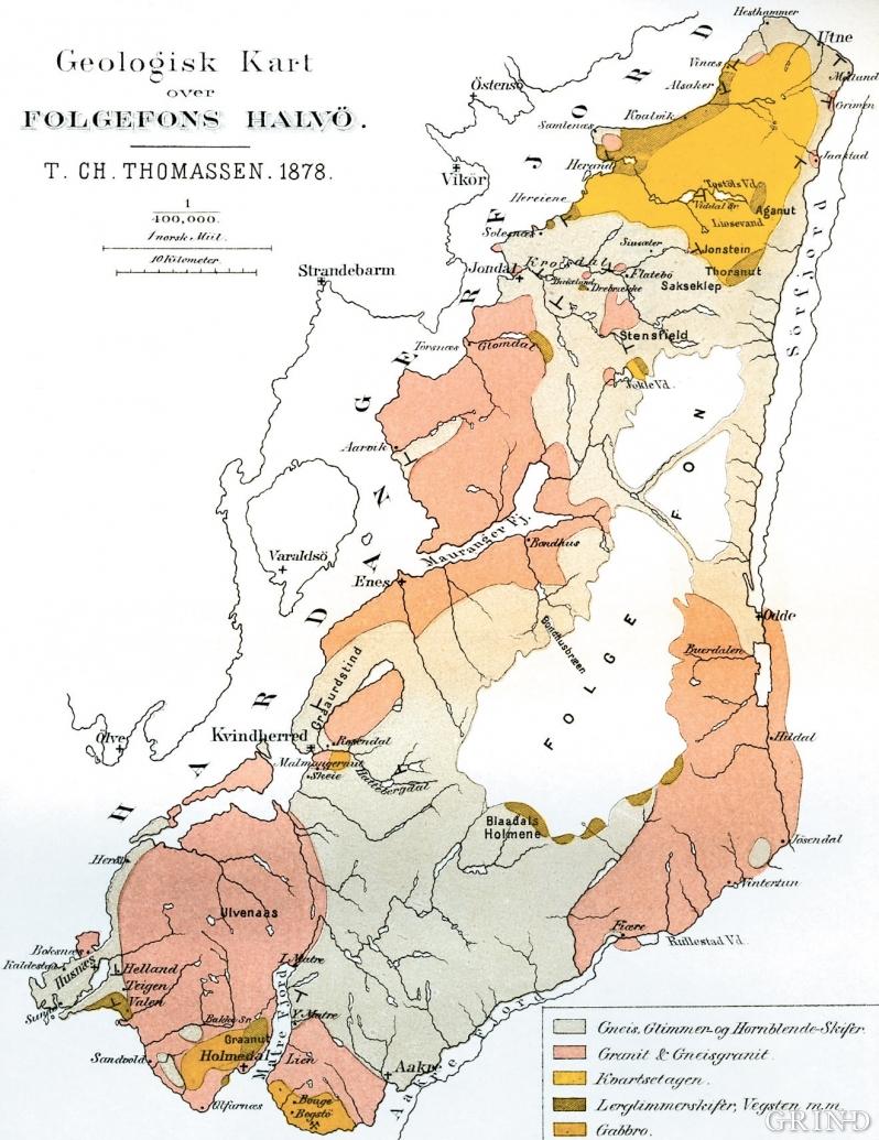 Geologisk kart over Folgefonnhalvøya.