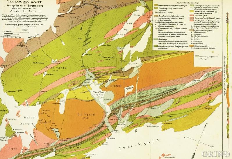 Os-områdets geologi, kartlagt av Hans Reusch i 1881.