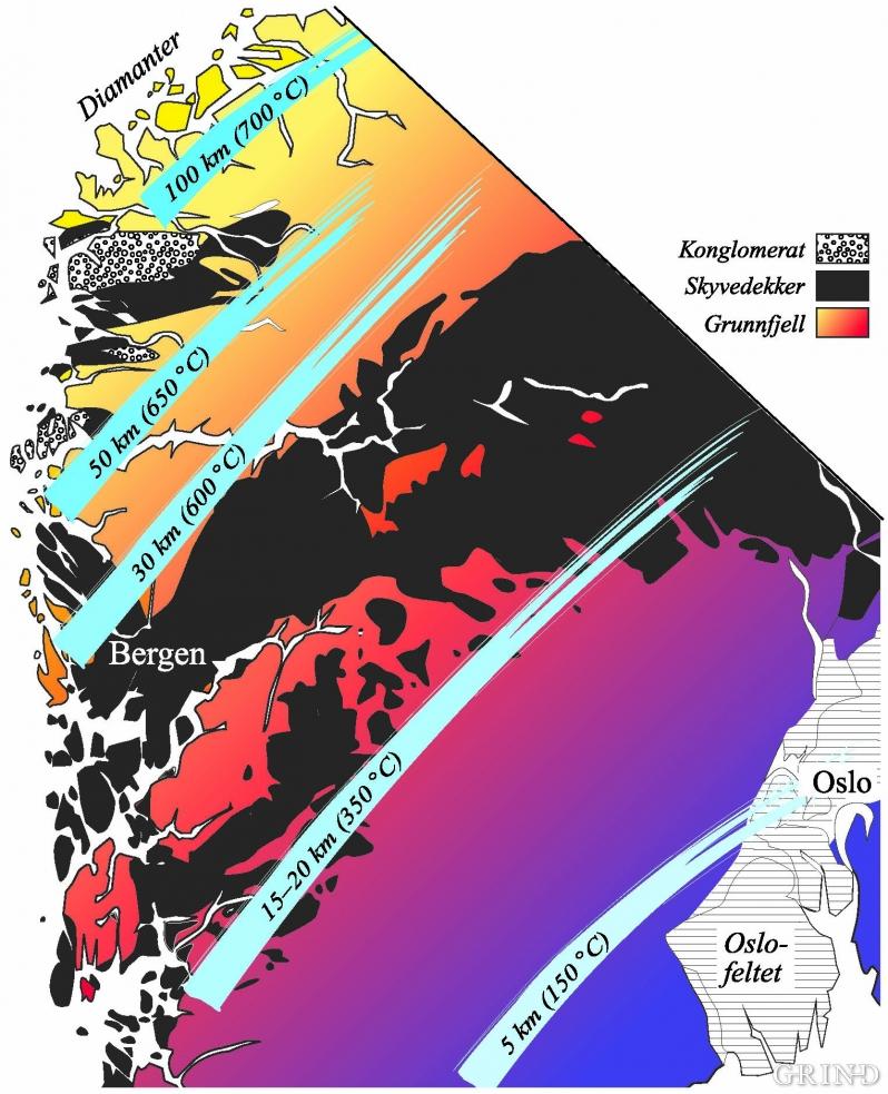 Kart som viser hvor dypt ned i jorden grunnfjellet ble presset under den kaledonske kollisjonen mellom Grønland og Norge.