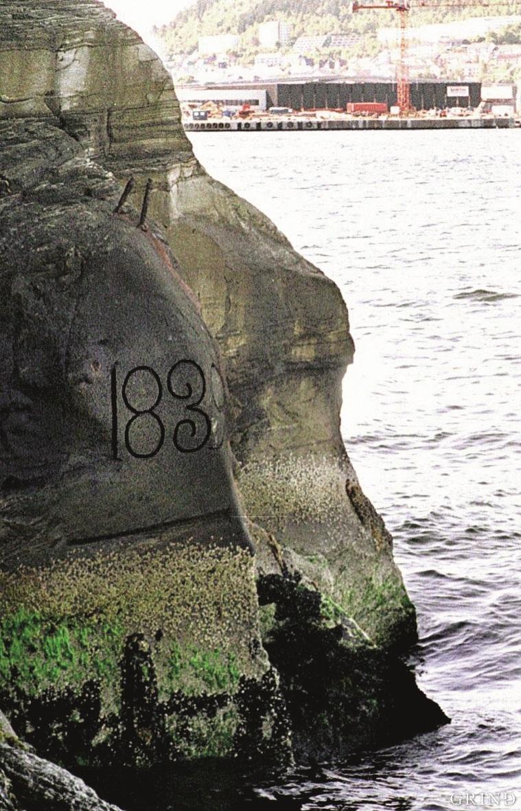 Merke for landhevning fra 1839